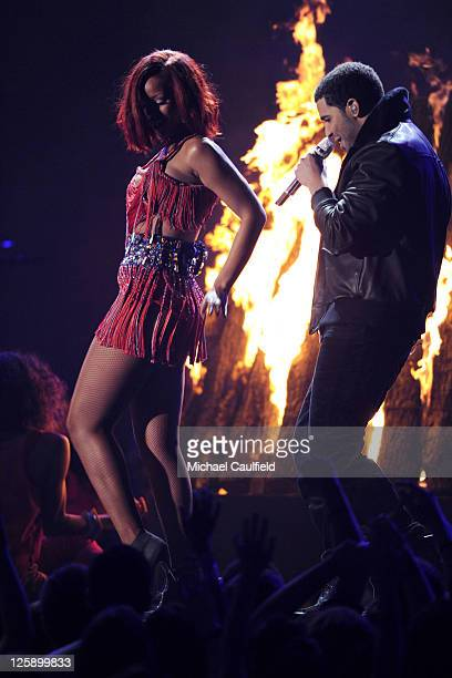 Singers Rihanna and Drake onstage during The 53rd Annual GRAMMY Awards held at Staples Center on February 13 2011 in Los Angeles California