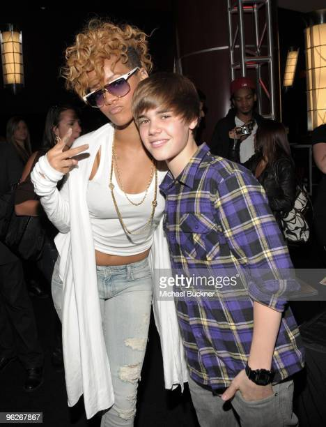 Singers Rihanna and Justin Bieber attend the 52nd Annual GRAMMY awards backstage at the GRAMMYs Day 2 held at at Staples Center on January 29 2010 in...