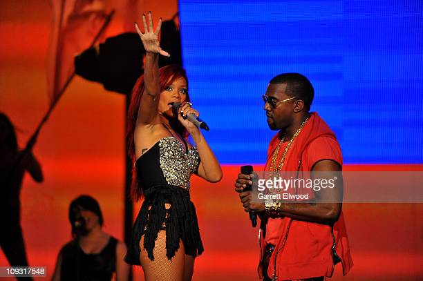 Singers Rihanna and Kanye West perform during the 2011 NBA All Star Game at Staples Center on February 20 2011 in Los Angeles California NOTE TO USER...