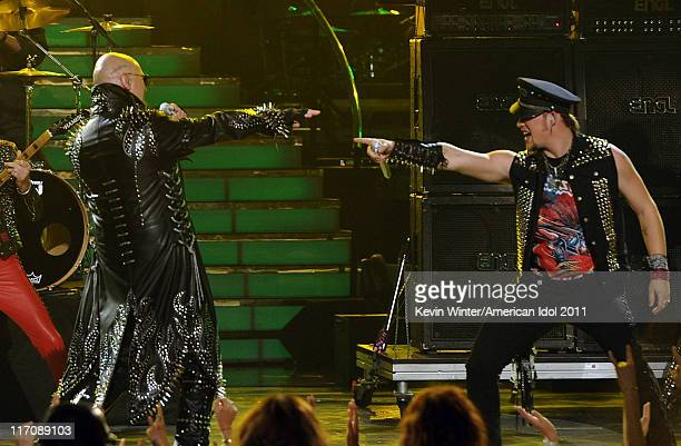 Singers Rob Halford of Judas Priest and James Durbin perform onstage during Fox's 'American Idol 2011' finale results show held at Nokia Theatre LA...