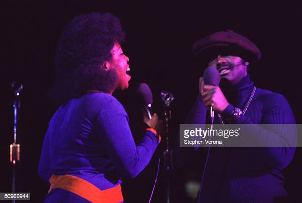 Singers Roberta Flack and Donny Hathaway in concert at Pauley Pavillion at UCLA on September 11 1972 in Los Angeles California