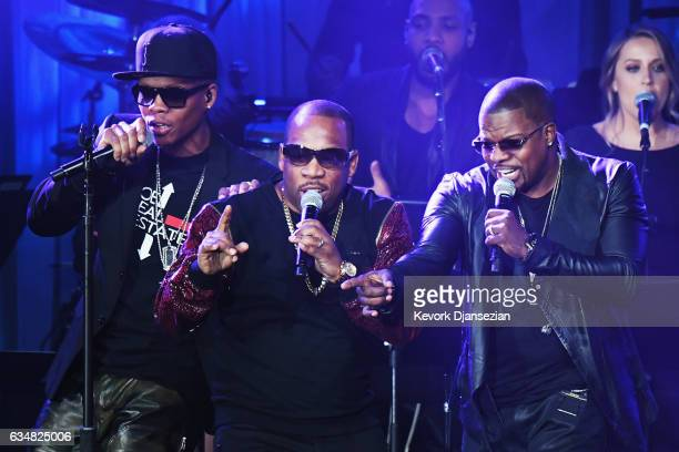 Singers Ronnie DeVoe Michael Bivins and Ricky Bell of Bell Biv DeVoe perform onstage at the PreGRAMMY Gala and Salute to Industry Icons Honoring...