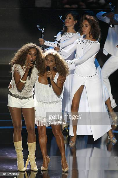 Singers Rosario Flores and Lolita Flores perform at TNTLA Platino Awards 2015 at Starlight Marbella on July 18 2015 in Marbella Spain