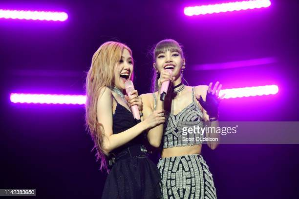 Singers Rose and Lisa of BLACKPINK perform onstage during the 2019 Coachella Valley Music and Arts Festival on April 12 2019 in Indio California