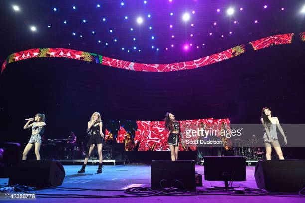 Singers Rose Jisoo Lisa and Jennie Kim of BLACKPINK perform onstage during the 2019 Coachella Valley Music and Arts Festival on April 12 2019 in...