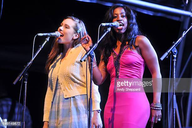 Singers Rosie Mae and Louise Marshall perform with Jools Holland His Rhythm and Blues Orchestra on the Europe stage during BT River Of Music Festival...