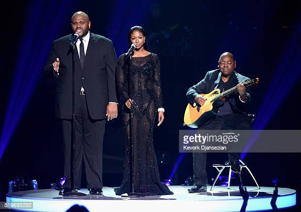Singers Ruben Studdard and Amber Holcomb perform onstage during FOX's American Idol Finale For The Farewell Season at Dolby Theatre on April 7 2016...