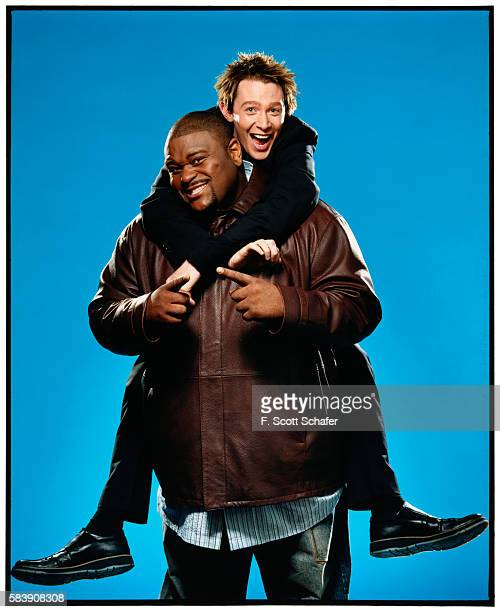 Singers Ruben Studdard and Clay Aiken are photographed for Newsweek Magazine in 2003 PUBLISHED IMAGE