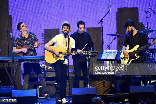 Singers Ryan Met Jack Met and bass player Adam Met of the band AJR perform onstage during the iHeartRadio ALTer EGO concert at The Forum on January...