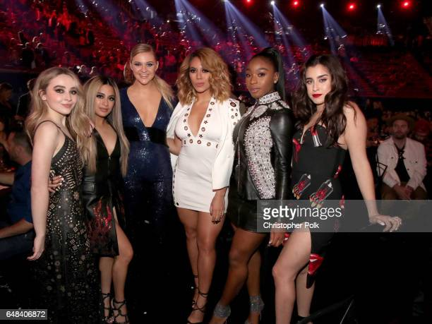 Singers Sabrina Carpenter and Kelsea Ballerini pose with singers Ally Brooke Dinah Jane Normani Kordei and Lauren Jauregui of music group Fifth...