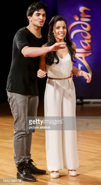 Singers Salvador Wolff and Myrthes Monteiro sing during the final casting round for the main characters in the musical 'Aladdin' in Hamburg Germany...