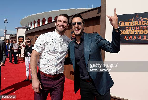 Singers Sam Hunt and Luke Bryan attend the 2016 American Country Countdown Awards at The Forum on May 1 2016 in Inglewood California