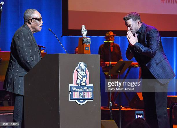 Singers Sam Moore and Justin Timberlake during the Memphis Music Hall of Fame Induction Ceremony at the Cannon Center on October 17 2015 in Memphis...