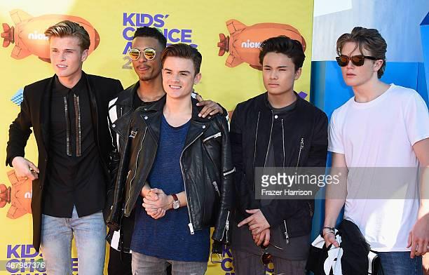 Singers Samuel Leijten Cassius Verbond Jozua Aaron Isaias Dioni JuradoGomez and Kaj van der Voort of BBrave attend Nickelodeon's 28th Annual Kids'...