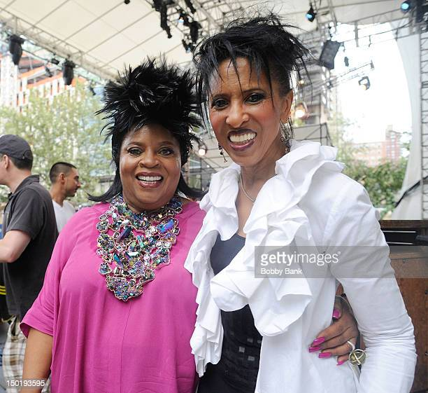 Singers Sarah Dash and Nona Hendryx of Labelle backstage during the Triple Goddess Twilight Revue Celebrating the Music Of Laura Nyro at Damrosch...
