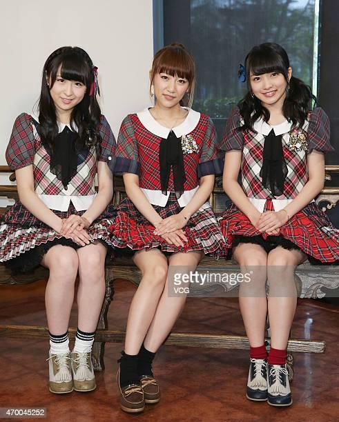 Singers Saya Kawamoto, Mion Mukaichi and Minami Takahashi of Japanese girl group AKB48 meet fans on April 16, 2015 in Taipei, Taiwan.