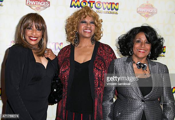Singers Scherrie Payne Lynda Laurence and Joyce Vincent Wilson attend the Los Angeles opening night of Mowtown The Musical at the Pantages Theatre on...