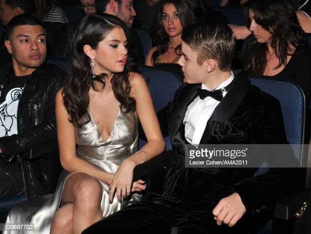 Singers Selena Gomez and Justin Bieber at the 2011 American Music Awards held at Nokia Theatre LA LIVE on November 20 2011 in Los Angeles California