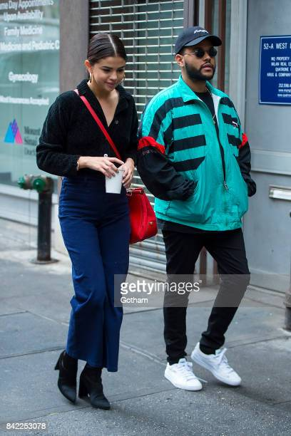 Singers Selena Gomez and The Weeknd are seen in the West Village on September 3 2017 in New York City