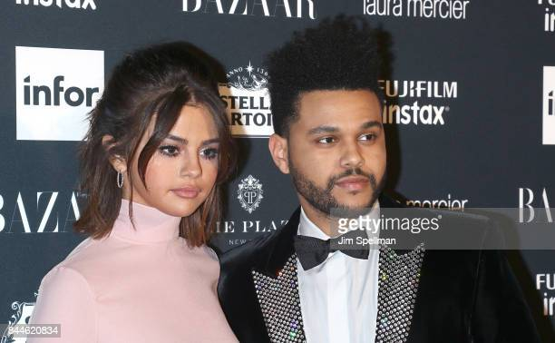 Singers Selena Gomez and The Weeknd attend the 2017 Harper's Bazaar Icons at The Plaza Hotel on September 8 2017 in New York City