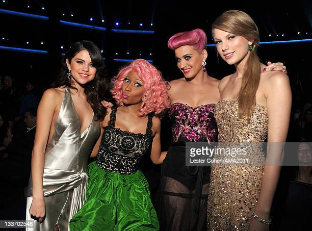 Singers Selena Gomez Nicki Minaj Katy Perry and Taylor Swift at the 2011 American Music Awards held at Nokia Theatre LA LIVE on November 20 2011 in...