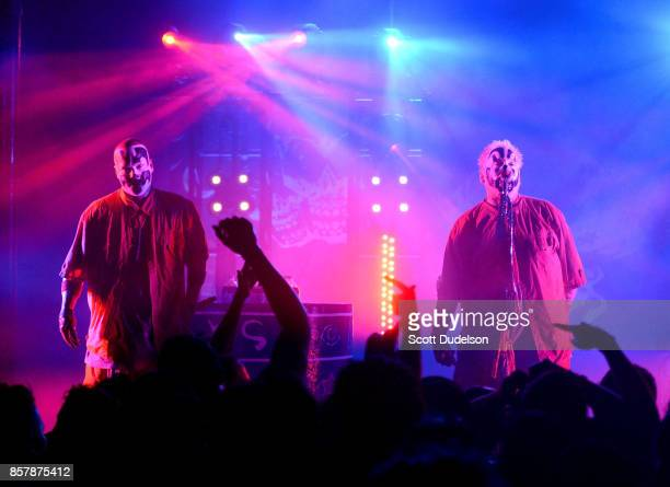 Singers Shaggy 2 Dope and Violent J of the band Insane Clown Posse perform onstage at The Observatory on October 4 2017 in Santa Ana California