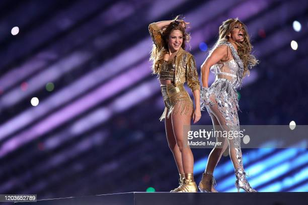 Singers Shakira and Jennifer Lopez perform during the Pepsi Super Bowl LIV Halftime Show at Hard Rock Stadium on February 02 2020 in Miami Florida