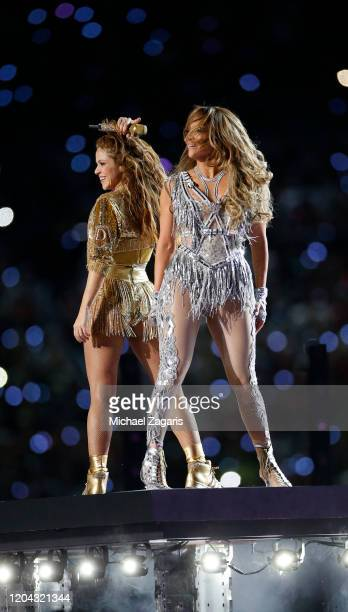 Singers Shakira and Jennifer Lopez perform during the Pepsi Super Bowl LIV Halftime Show at Hard Rock Stadium on February 2 2020 in Miami Florida
