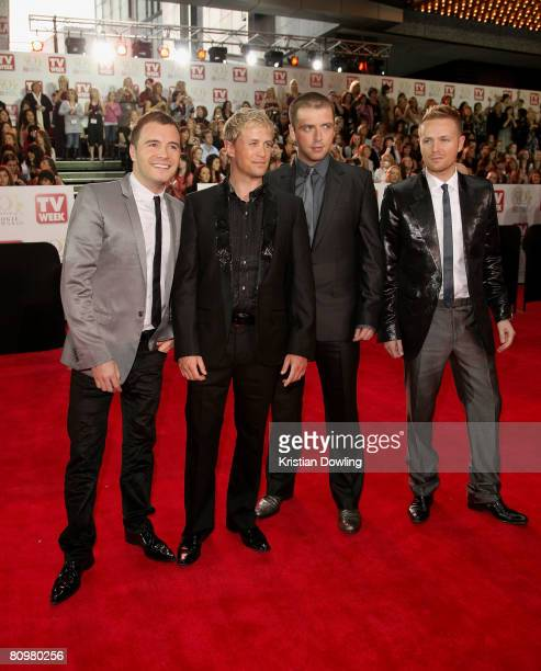 Singers Shane Filan Kian Egan Mark Feehily and Nicky Byrne of the band Westlife arrive on the red carpet at the 50th Annual TV Week Logie Awards at...