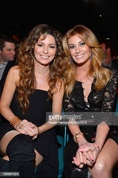 Singers Shania Twain and Faith Hill attend the 48th Annual Academy of Country Music Awards at the MGM Grand Garden Arena on April 7 2013 in Las Vegas...