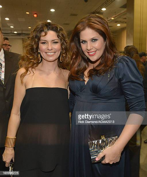 Singers Shania Twain and Hillary Scott of Lady Antebellum attend the 48th Annual Academy of Country Music Awards at the MGM Grand Garden Arena on...