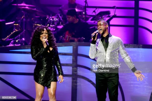 Singers Shanice and Tony Terry onstage at the 2017 Black Music Honors at Tennessee Performing Arts Center on August 18 2017 in Nashville Tennessee