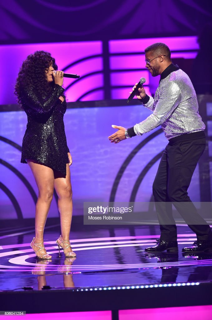 Singers Shanice (L) and Tony Terry (R) onstage at the 2017 Black Music Honors at Tennessee Performing Arts Center on August 18, 2017 in Nashville, Tennessee.
