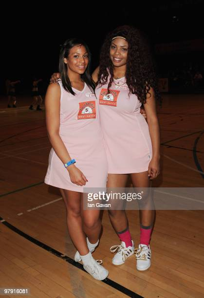 Singers Shaniece Davis and Shar Alexandra of girl group Miss Frank take part in the Celebrity Netball 7's tournament at the Brentwood Centre on March...