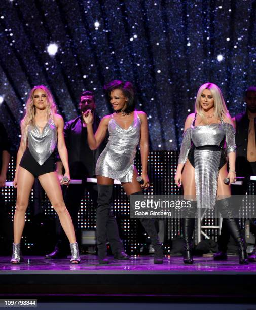 Singers Shannon Bex, Dawn Richard and Aubrey O'Day of Danity Kane perform during the 2019 GayVN Awards show at The Joint inside the Hard Rock Hotel &...