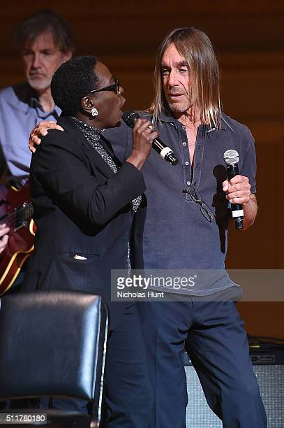 Singers Sharon Jones and Iggy Pop rehearse onstage at the 26th Annual Tibet House US benefit concert at Carnegie Hall on February 22 2016 in New York...