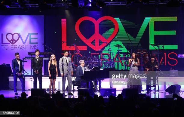 Singers Shawn Hook Trevis Brendmoe Olivia Keegan and David Osmond David Foster and Siedah Garrett perform onstage at the 24th Annual Race To Erase MS...