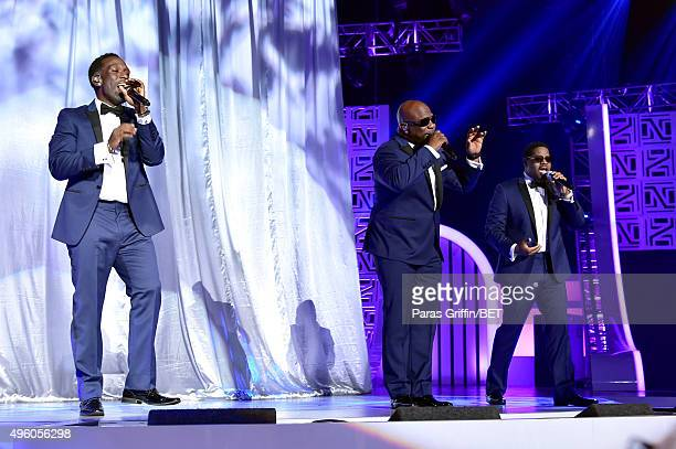 Singers Shawn Stockman Wanya Morris and Nathan Morris of Boyz II Men perform onstage during the 2015 Soul Train Music Awards at the Orleans Arena on...