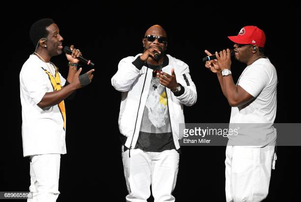 Singers Shawn Stockman Wanya Morris and Nathan Morris of Boyz II Men perform during a stop of The Total Package Tour at TMobile Arena on May 28 2017...