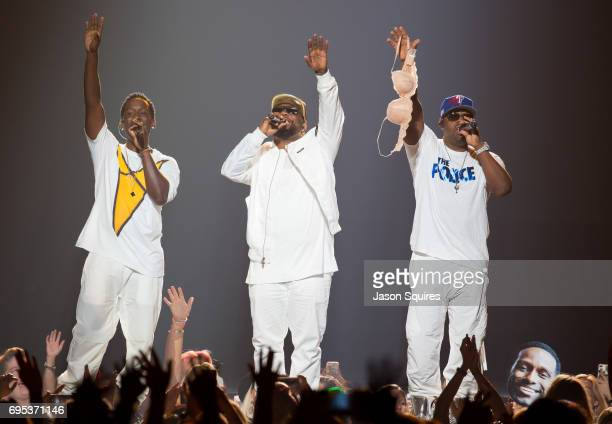 Singers Shawn Stockman Wanya Morris and Nathan Morris of Boyz II Men perform at Sprint Center on June 12 2017 in Kansas City Missouri