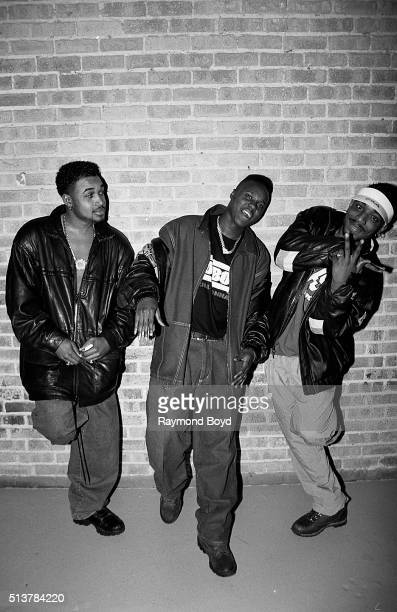 Shazam GI and Dino from HTown poses for photos after their performance at the International Amphitheatre in Chicago Illinois in 1993
