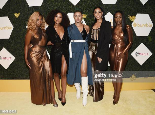 Singers Shyann Roberts, Brienna DeVlugt, Gabby Carreiro, Kristal Smith and Ashly Williams of June's Diary arrive at the BET Her Awards Presented By...