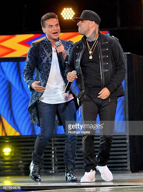 Singers Silvestre Dangond and Nicky Jam perform onstage during the 16th Latin GRAMMY Awards at the MGM Grand Garden Arena on November 19 2015 in Las...