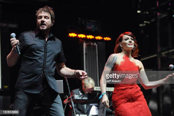 Singers Simon Le Bon of Duran Duran and Ana 'Ana Matronic' Lynch perform during Day 3 of the Coachella Valley Music Arts Festival 2011 held at the...