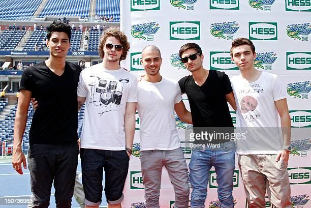 Singers Siva Kaneswaran Jay McGuiness Max George Tom Parker and Nathan Sykes of The Wanted attend 2012 Arthur Ashe Kids' day at the USTA Billie Jean...