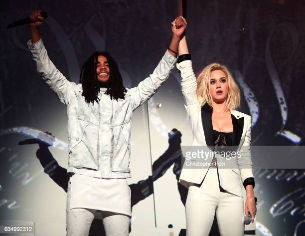 Singers Skip Marley and Katy Perry during The 59th GRAMMY Awards at STAPLES Center on February 12 2017 in Los Angeles California