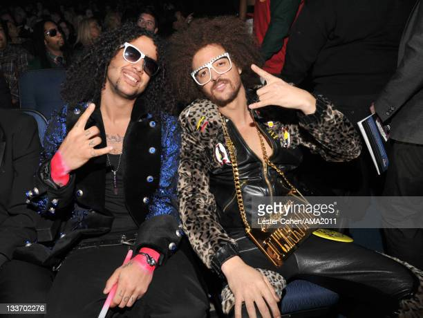 Singers SkyBlu and Redfoo of LMFAO at the 2011 American Music Awards held at Nokia Theatre LA LIVE on November 20 2011 in Los Angeles California