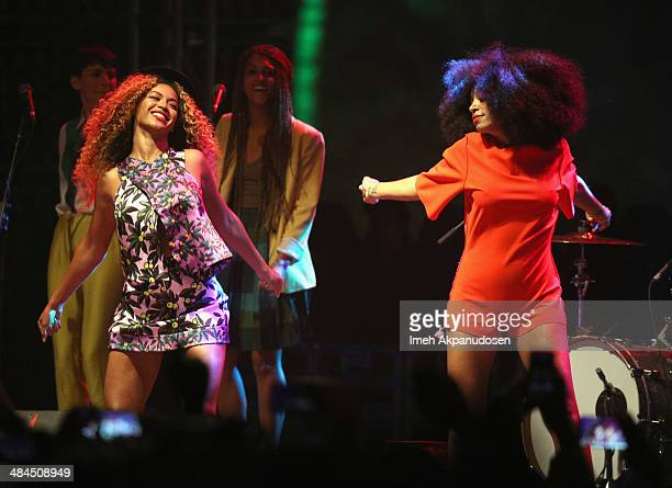 Singers Solange and Beyonce perform onstage during day 2 of the 2014 Coachella Valley Music Arts Festival at the Empire Polo Club on April 12 2014 in...