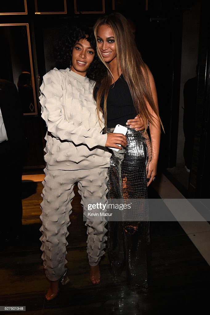 Singers Solange Knowles and Beyonce attend the Balmain and Olivier Rousteing after the Met Gala Celebration on May 02, 2016 in New York, New York.