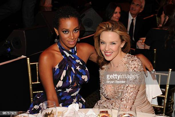 Singers Solange Knowles and Kylie Minogue attend DKMS' 4th Annual Gala Linked Against Leukemia at Cipriani 42nd Street on April 29 2010 in New York...